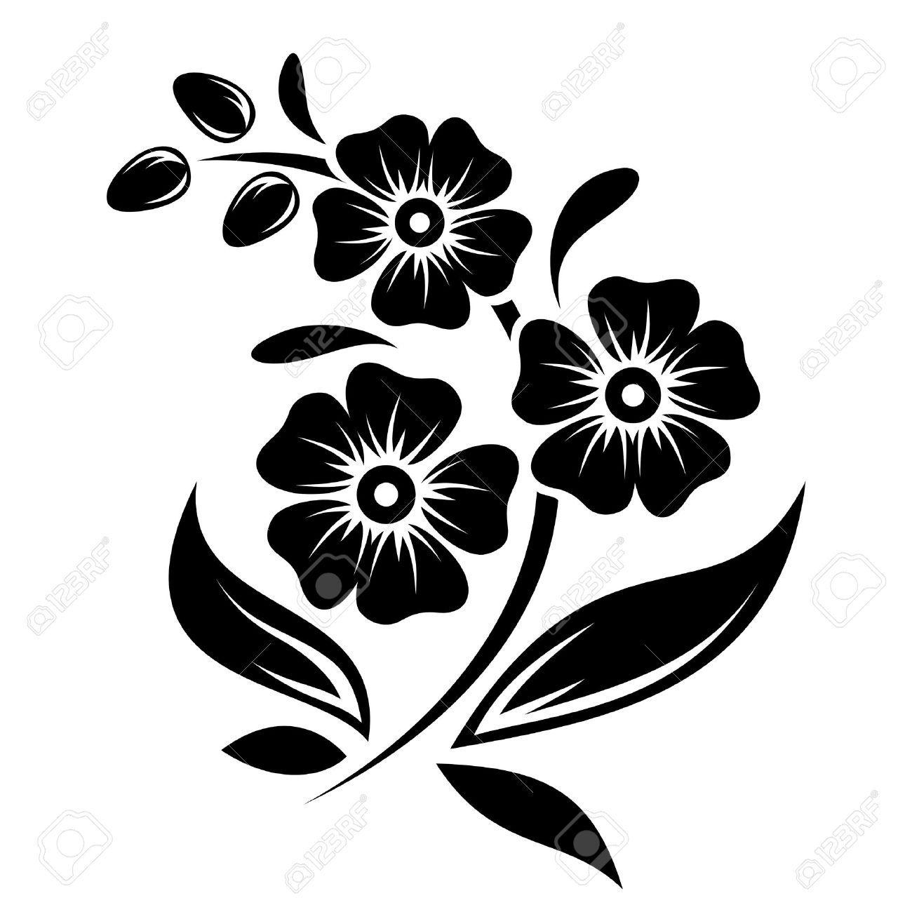 Flower vector graphics clipart. Stock vinyl silhouette flowers