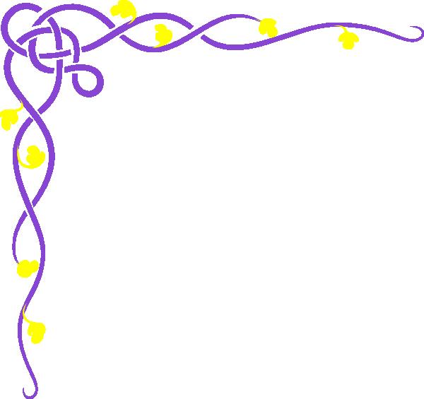 Flower vine clipart. Purple yellow clip art
