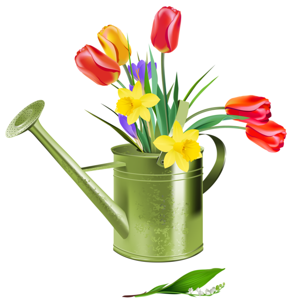 Flower water bucket clipart banner royalty free Green Watering Can with Spring Flowers PNG Clipart | mutfak dekopaj ... banner royalty free