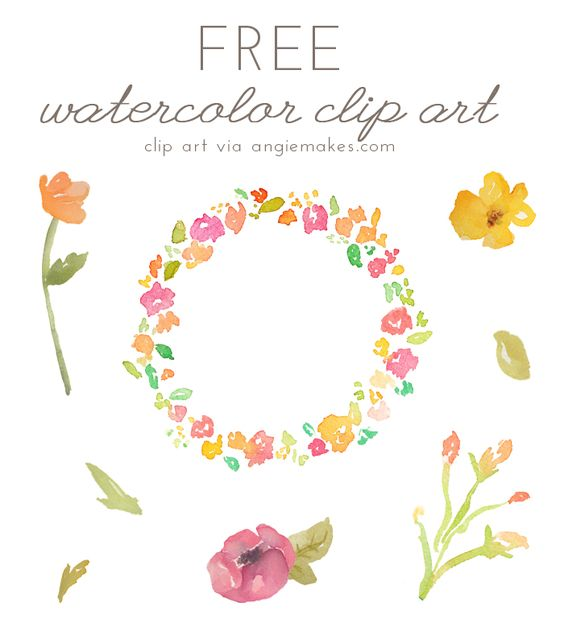 Flower watercolor clipart background vector royalty free download Free Watercolor Flower ClipArt | Teaching, Clip art and Watercolour vector royalty free download