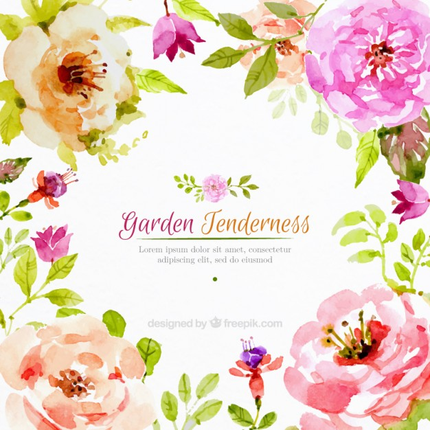 Flower watercolor clipart background clip art library stock Realistic watercolor flowers background Vector | Free Download clip art library stock