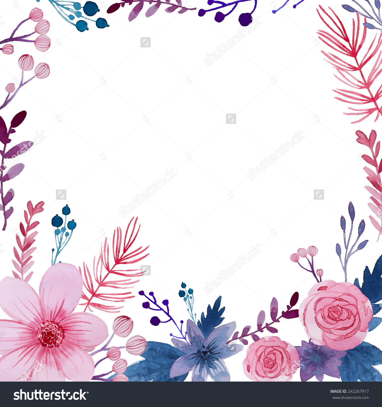 Flower watercolor clipart background picture black and white library Watercolor Floral Background Flowers Plants Frame Stock Vector ... picture black and white library