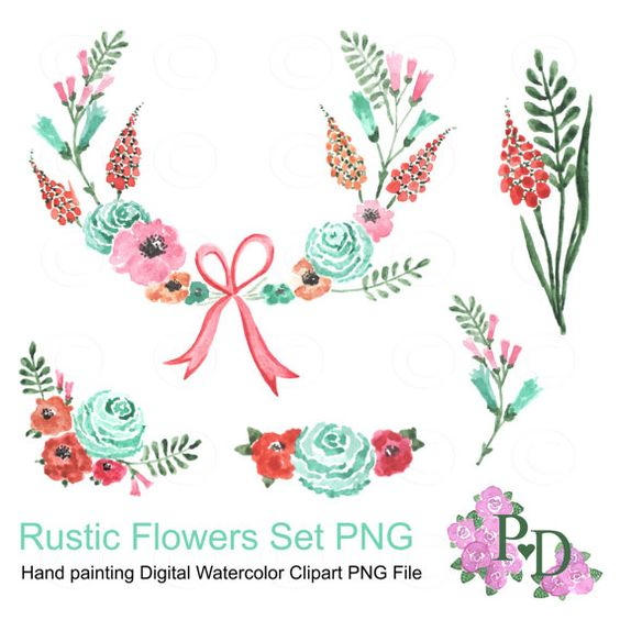Flower watercolor clipart background clipart royalty free stock Rustic Flowers clipart, Floral Wreath Clipart, PNG file Digital ... clipart royalty free stock