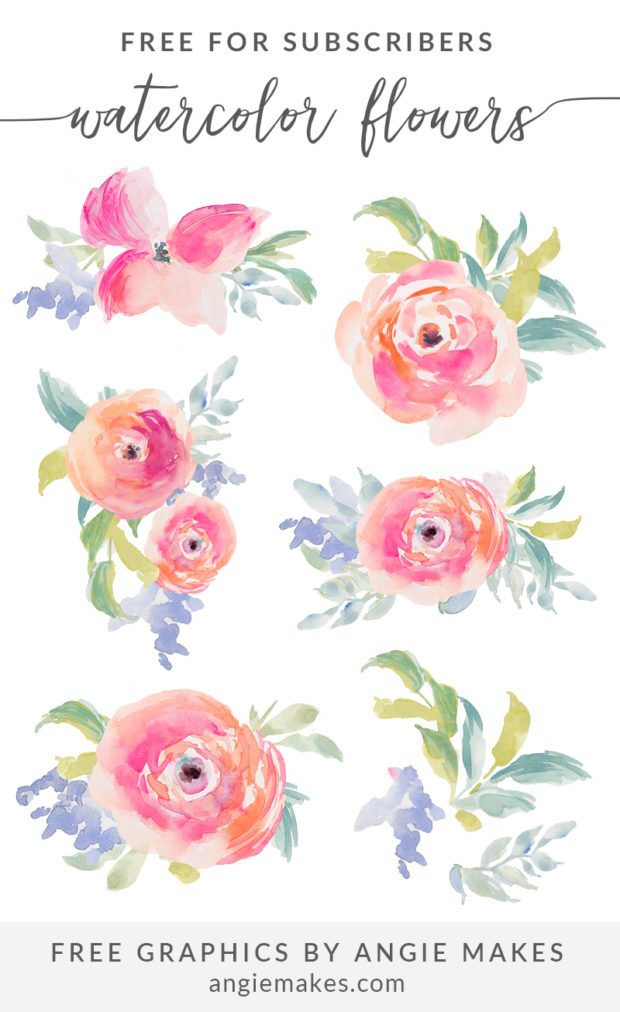 Flower watercolor clipart background svg freeuse library Free Girly Graphics and Watercolor Clip Art- Angie Makes svg freeuse library
