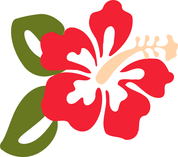 Flower with leaves clipart clip free library Red Hibiscus Two Leaves Clip Art at Clker.com - vector clip art ... clip free library