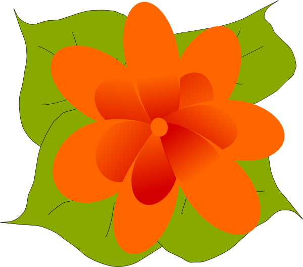 Flower with leaves clipart clip transparent library Orange Flower With Leaves Clip Art at Clker.com - vector clip art ... clip transparent library