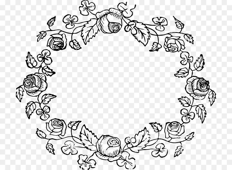 Flower wreath black and white clipart art. Rose transparent