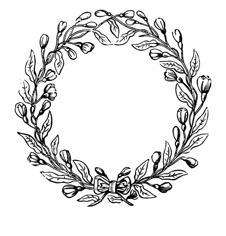 Flower wreath black and white clipart art. Banner library free file
