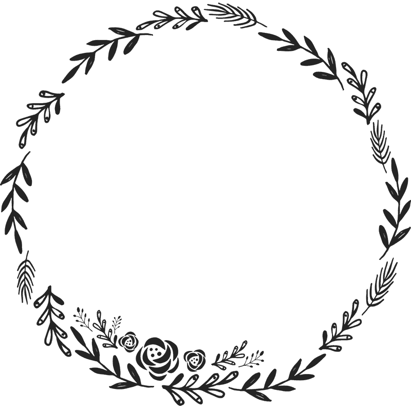 Image result for how. Flower wreath clipart black and white