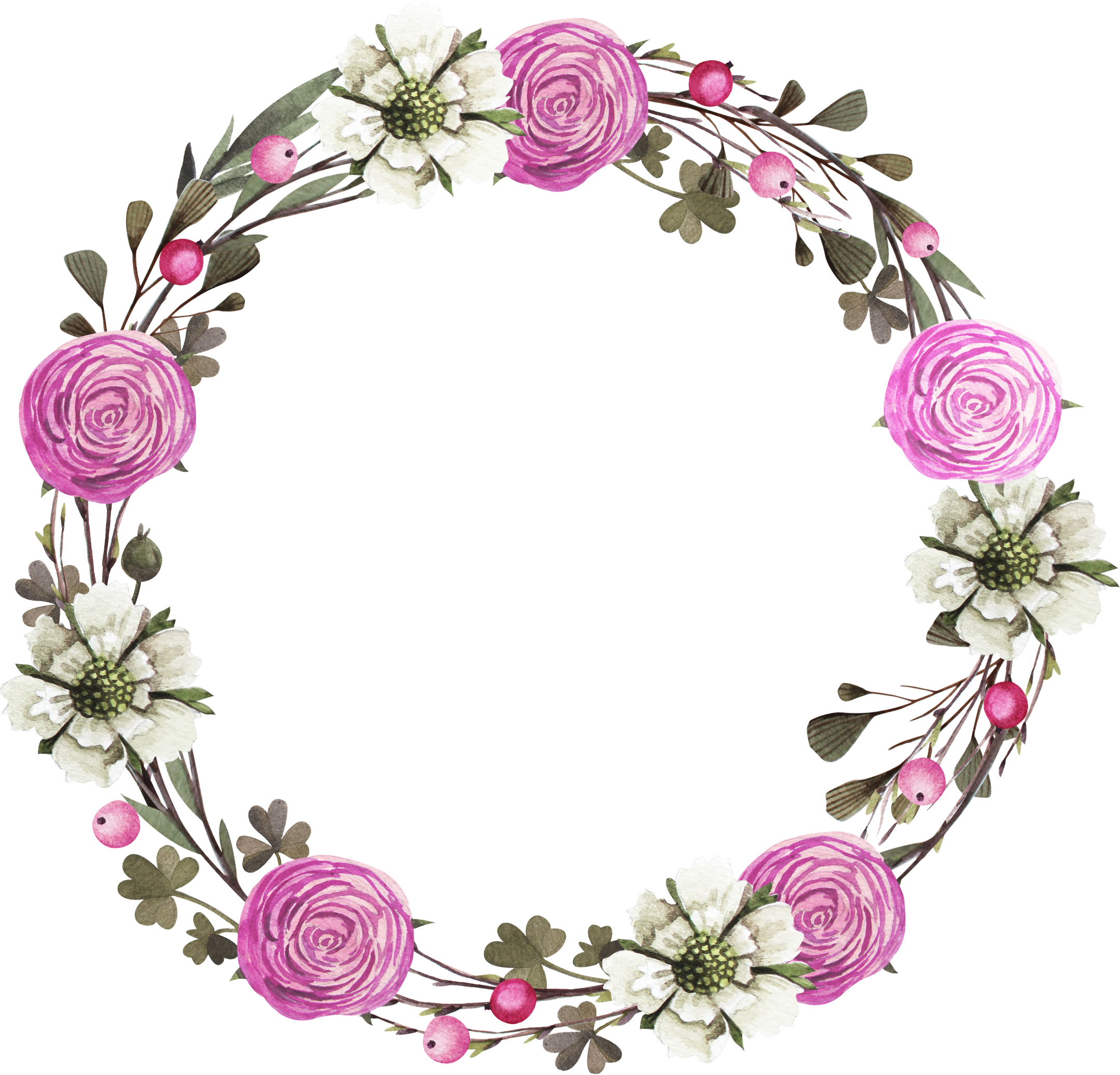 Flower wreath clipart free picture royalty free download Floral design Wreath Rose Clip art - Hand painted purple roses 2158 ... picture royalty free download