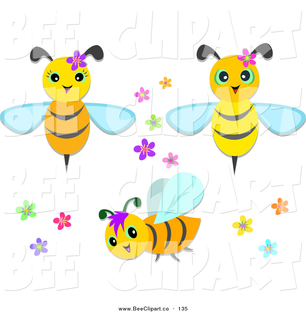 Flowers and bees clipart freeuse library Vector Clip Art of a Digital Set of Cute Bees with Flowers by ... freeuse library