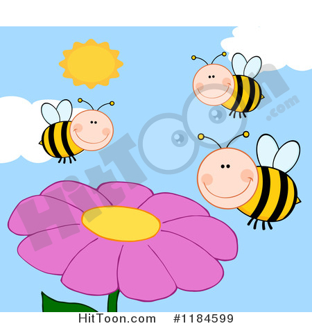 Flowers and bees clipart svg transparent download Bee Clipart #1184599: Happy Bees over Pink Flowers by Hit Toon svg transparent download