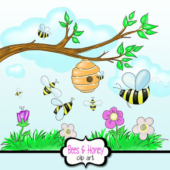 Flowers and bees clipart vector free download Clipart of bees and flowers - ClipartFox vector free download