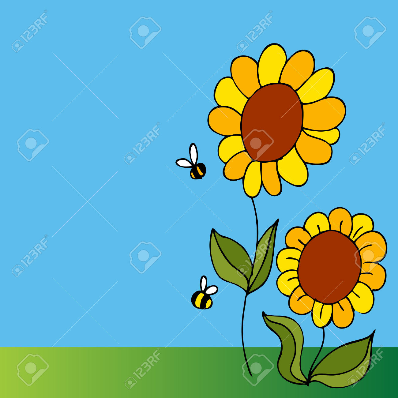 Flowers and bees clipart clip freeuse download An Image Of A Two Sunflowers And Two Bees. Royalty Free Cliparts ... clip freeuse download