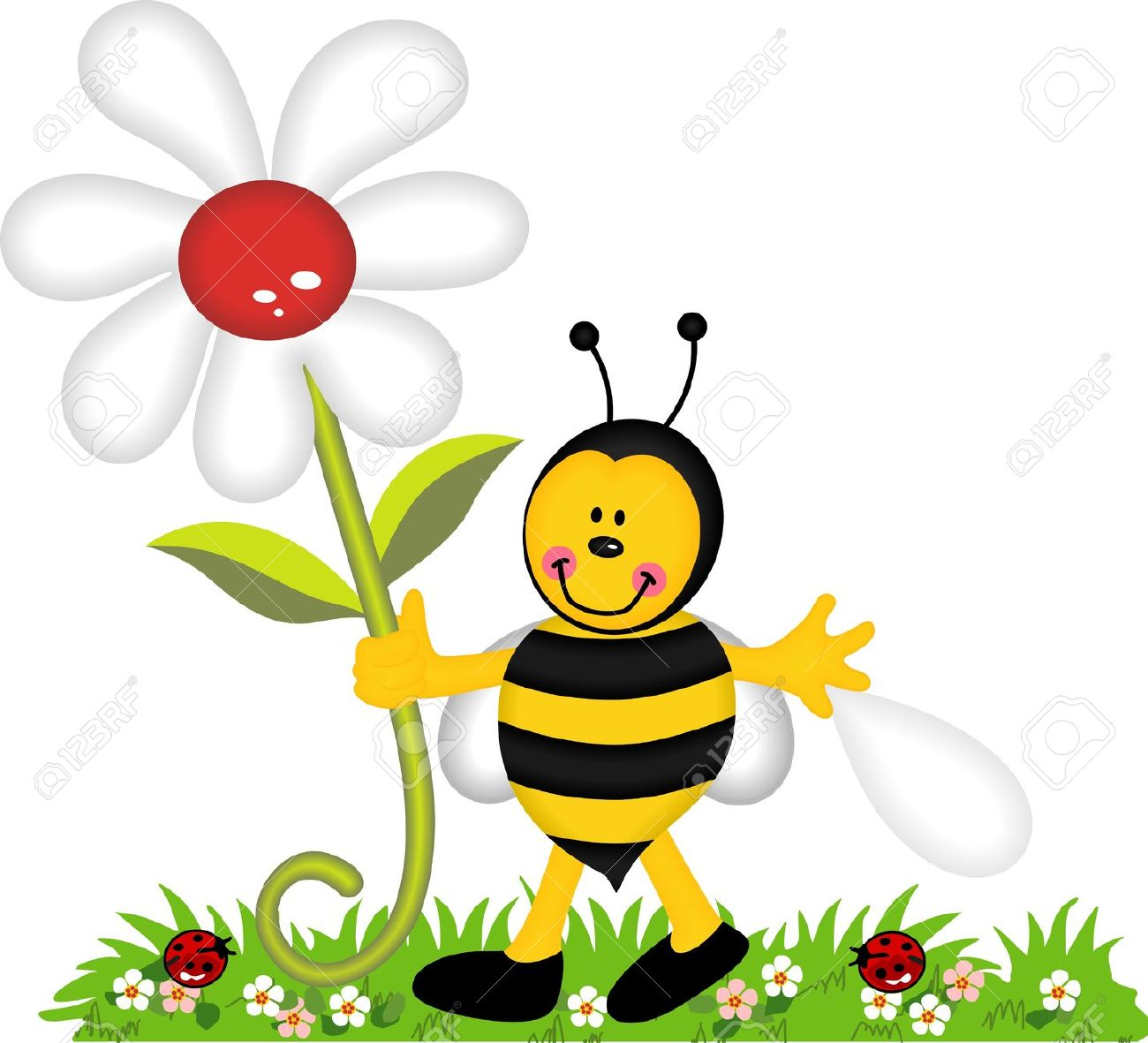 Flowers and bees clipart banner free stock Happy Bee Holding Flower In Garden Royalty Free Cliparts, Vectors ... banner free stock