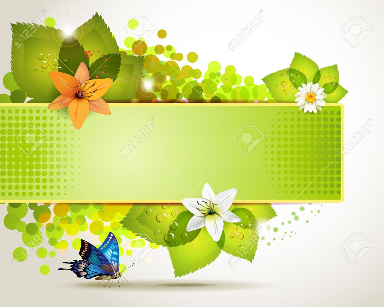 Flowers and borders picture transparent library Banner Design With Leaf, Flowers And Butterflies Royalty Free ... picture transparent library
