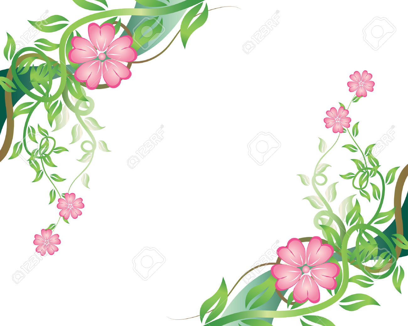 Flowers and borders graphic Floral Vector Background With Leaves And Flowers Royalty Free ... graphic