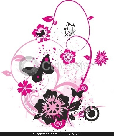 Flowers and butterflies clipart image transparent library Pink flower and butterfly clipart - ClipartFest image transparent library