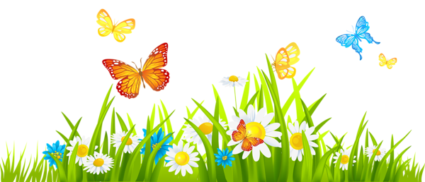 Flowers and butterflies clipart download Grass Ground with Flowers and Butterflies PNG | CLICKandLOL ... download