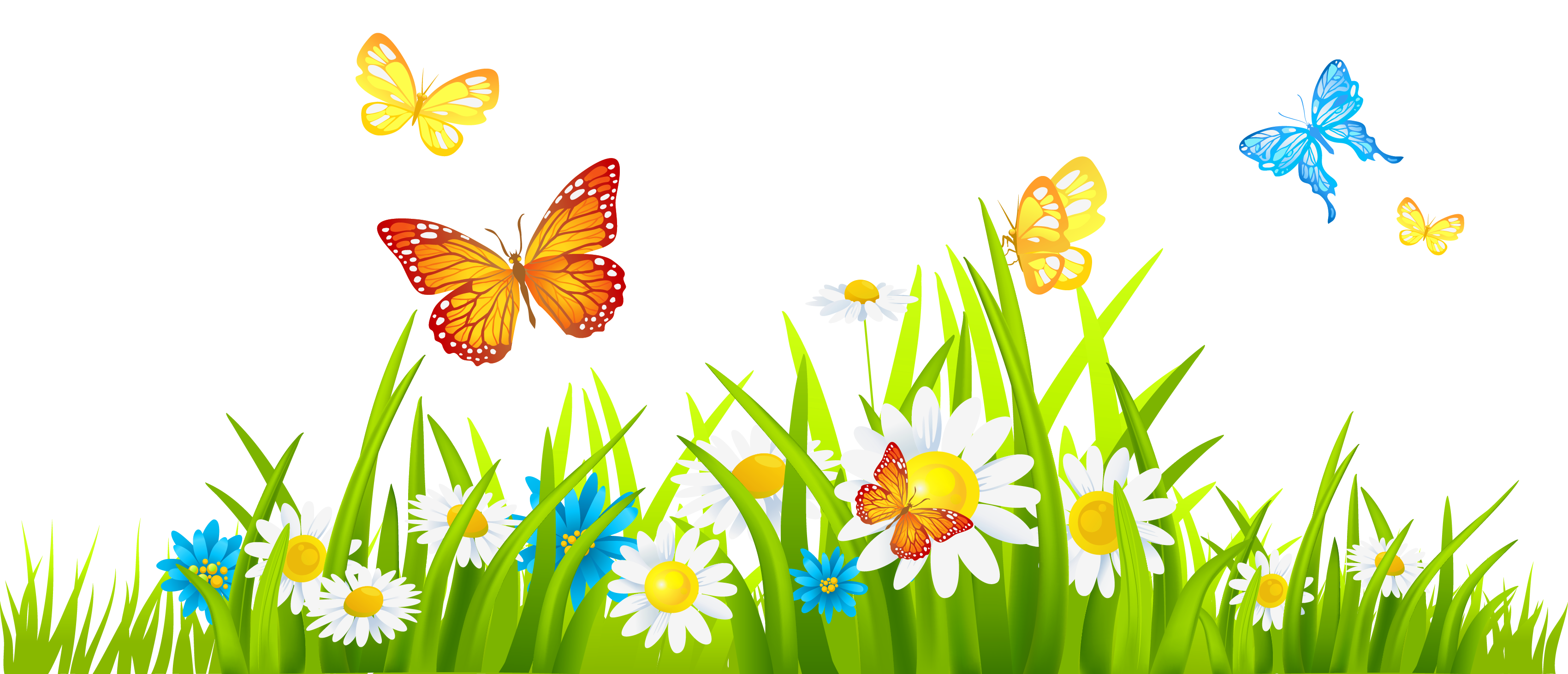 Spring flower clipart transparent banner royalty free PNG HD Of Butterflies And Flowers Transparent HD Of Butterflies And ... banner royalty free