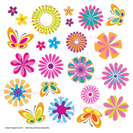 Flowers and butterfly clipart banner library download Spring flowers clipart butterfly floral vector digital - Clipartix banner library download
