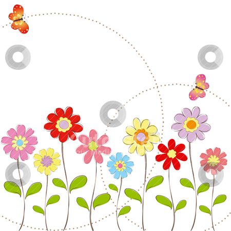 Flowers and butterfly clipart vector stock Springtime Flowers Clipart - Clipart Kid vector stock