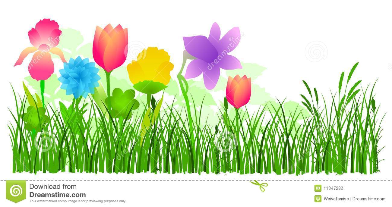 Flowers and grass clipart library Flowers In Grass Vector Stock Photography - Image: 11347282 library