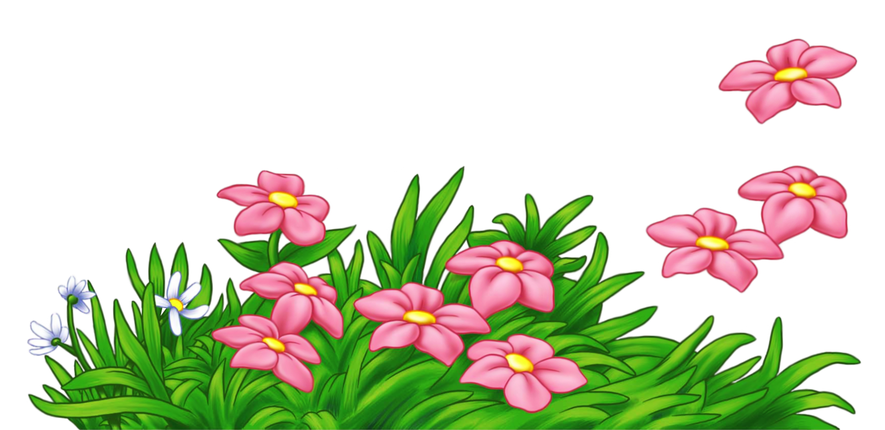 Grass with pink flowers. Flower banner clipart