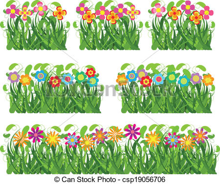Flowers and grass clipart picture transparent stock Vector Clipart of Collection grass and flowers csp19056608 ... picture transparent stock