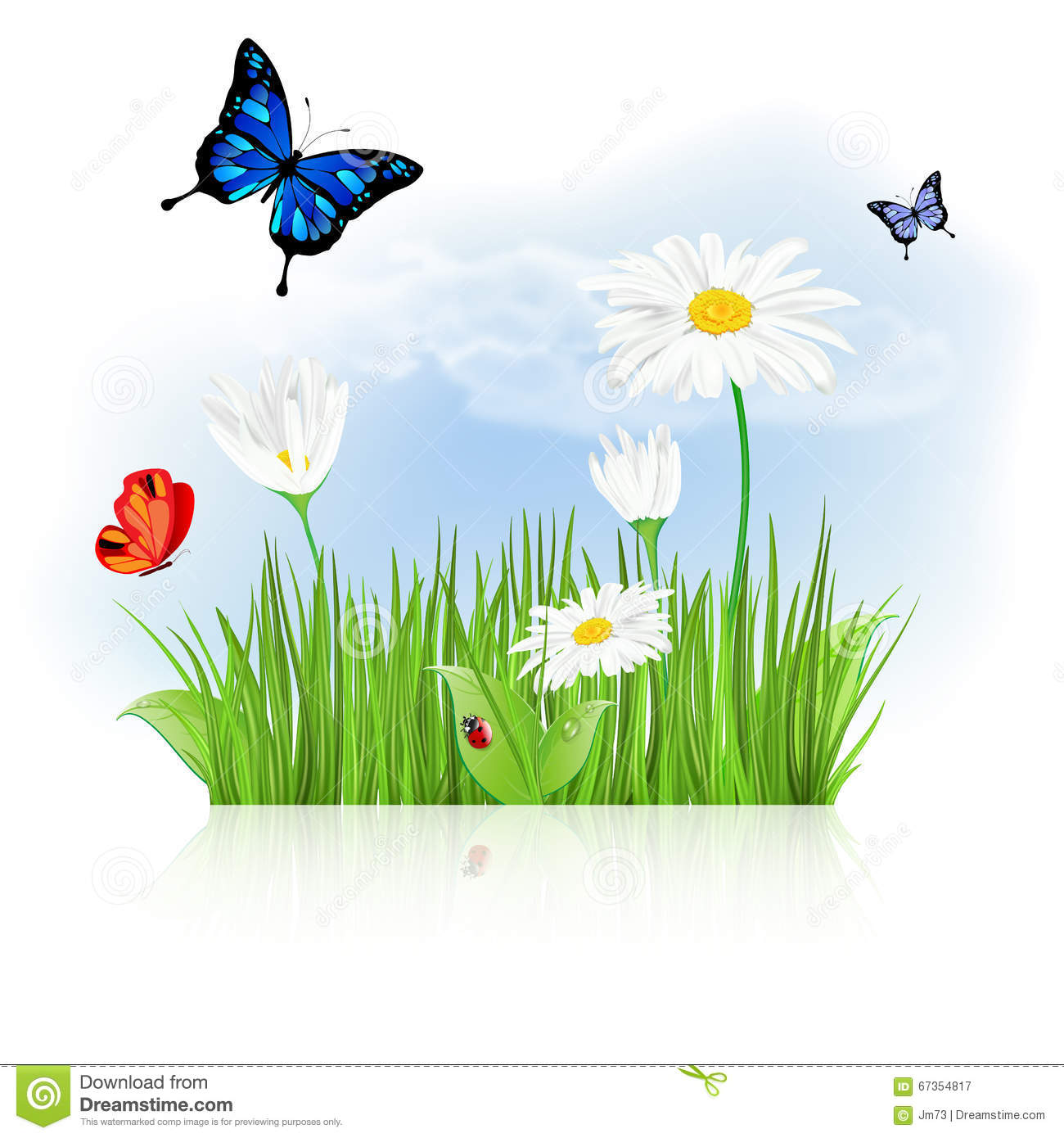 Flowers and grass clipart clipart library stock Nature Background With Grass, Flowers And Butterflies Stock Vector ... clipart library stock