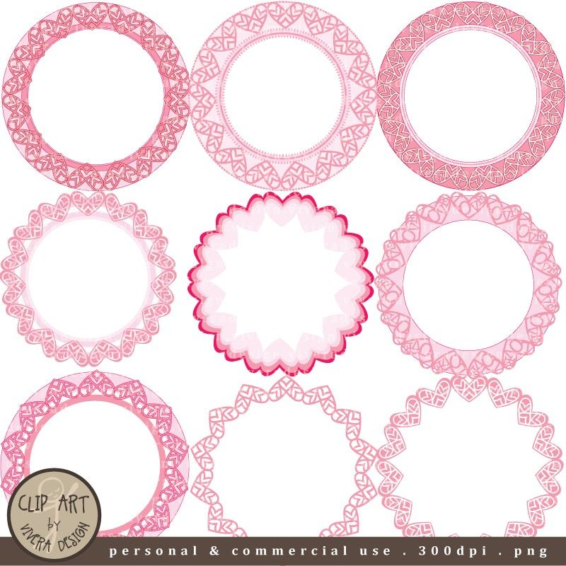 Flowers clipart black and hot pink for round labels clip art library download Cute Frame Clip Art | Digital Clip Art Circle Frames Pretty Pink by ... clip art library download