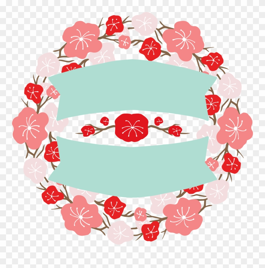 Flowers clipart black and hot pink for round labels jpg freeuse stock Japan Design Flower Banner Labels Round Two - Cake Clipart (#3653044 ... jpg freeuse stock