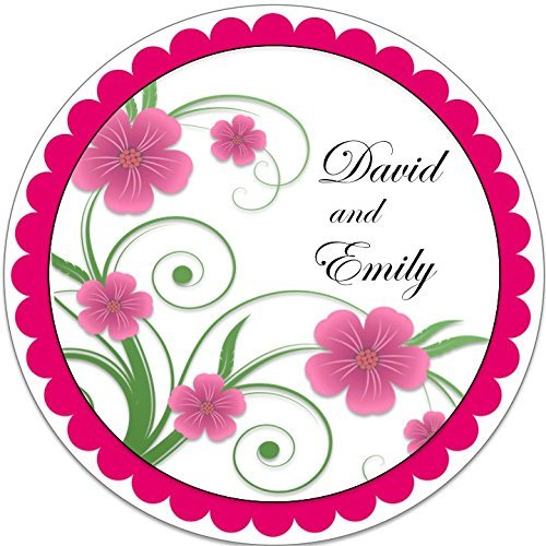 Flowers clipart black and hot pink for round labels vector royalty free download Amazon.com: 40 Labels Floral Vine - Round Personalized 2\