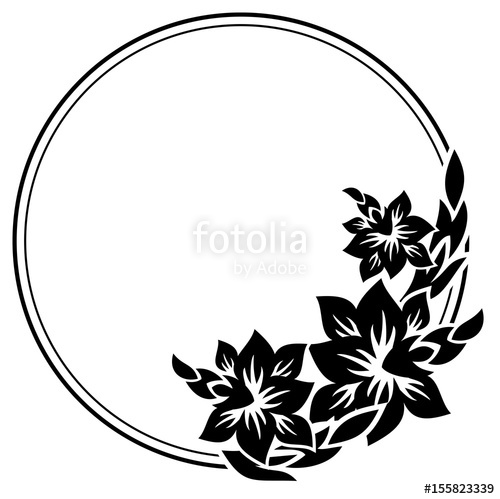 Round silhouette label with. Flowers clipart black and white for labels