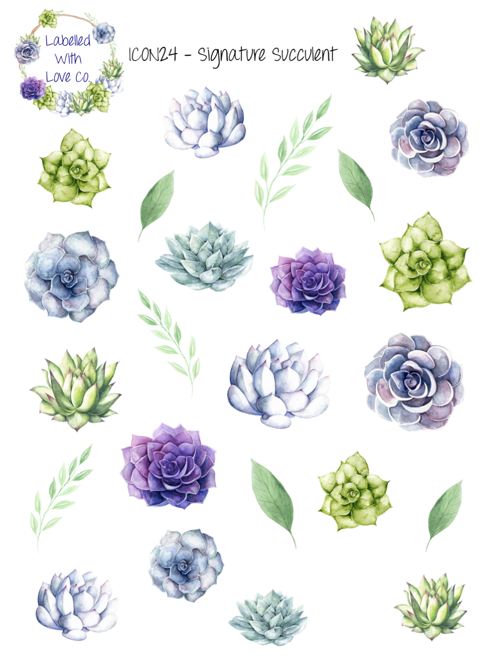 Flowers clipart stickers for email free signature. Icon succulent planner
