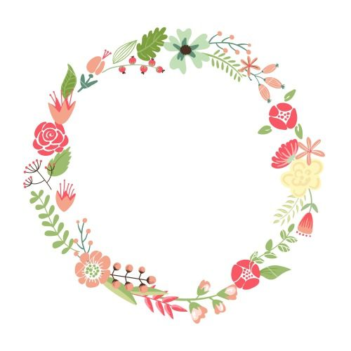 Flowers frame clipart transparent stock Floral Frame. Cute Retro Flowers Arranged Un A Shape Of The Wreath ... transparent stock