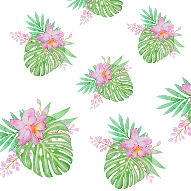 Flower reaching for sun clipart. Tropical leaf with pattern