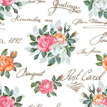 Flowers patterns vector clipart image transparent library Vintage flower pattern background free vector download (57,071 ... image transparent library