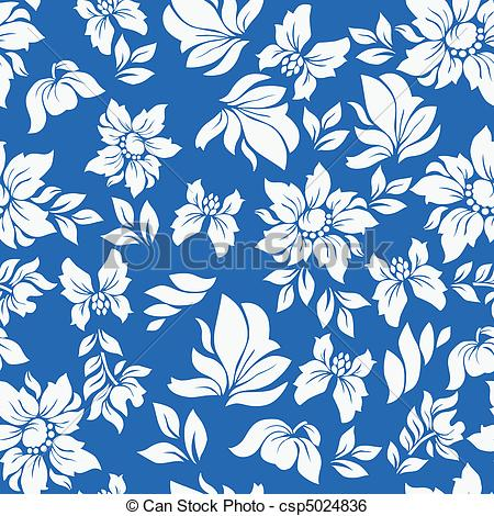 Flowers patterns vector clipart svg black and white library Clip Art Vector of Aloha Flower Pattern Blue - Seamless hawaiian ... svg black and white library