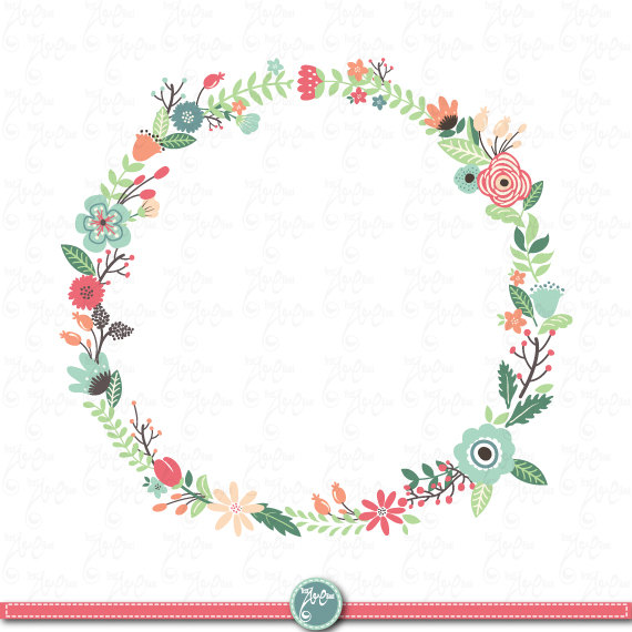 Flowers wreath clipart picture library stock Wreaths Floral clip art: \