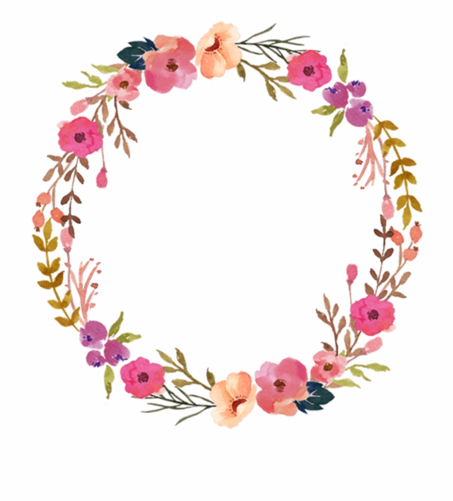 Flowers wreath clipart svg library download Ftestickers Watercolor Wreath Floral Colorful - Flower Wreath Png ... svg library download