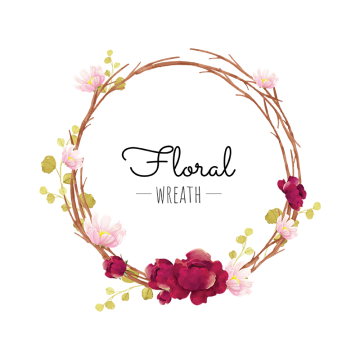 Flowers wreath clipart. Vector graphic resources for
