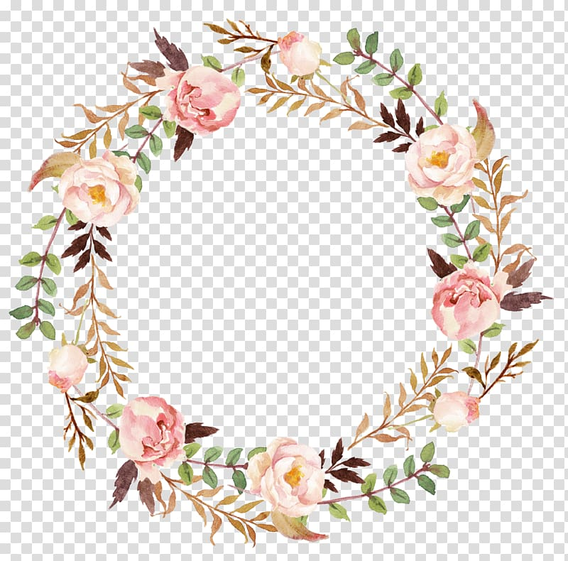 Flowers wreath clipart svg royalty free Wedding invitation Paper Wreath , flower wreath, pink and green ... svg royalty free