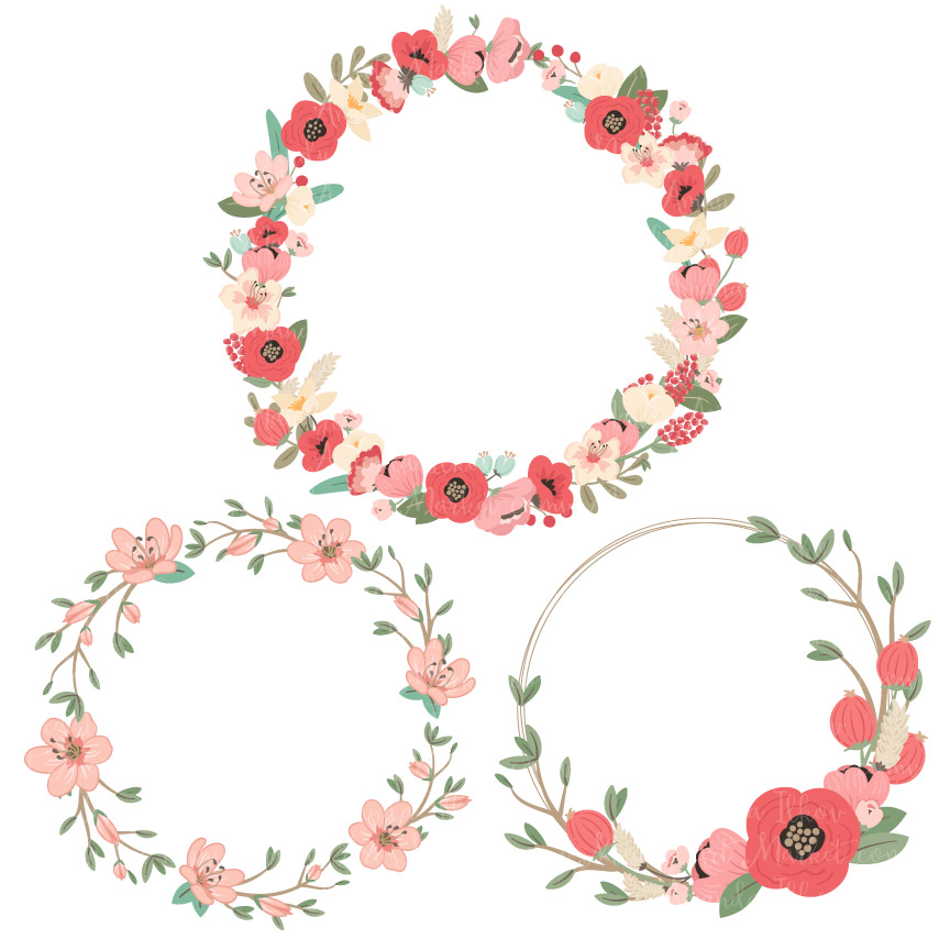 Flowers wreath clipart vector Mint & Coral Jenny Pretty Floral Wreath Clipart & Vectors vector