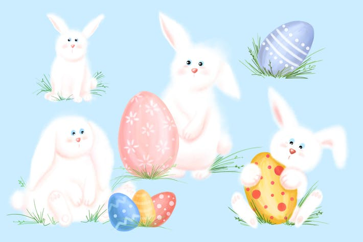 Fluffy bunny clipart. Easter by jumsoft on