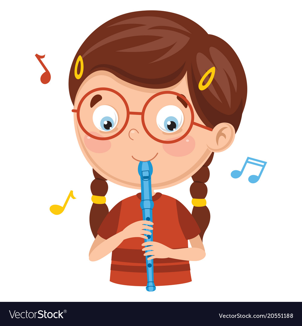 Flute vector clipart jpg royalty free download Kid playing flute jpg royalty free download