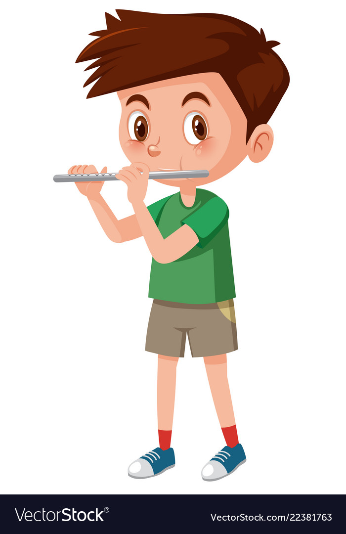 Flute vector clipart clip art freeuse stock Boy playing flutes on white background clip art freeuse stock