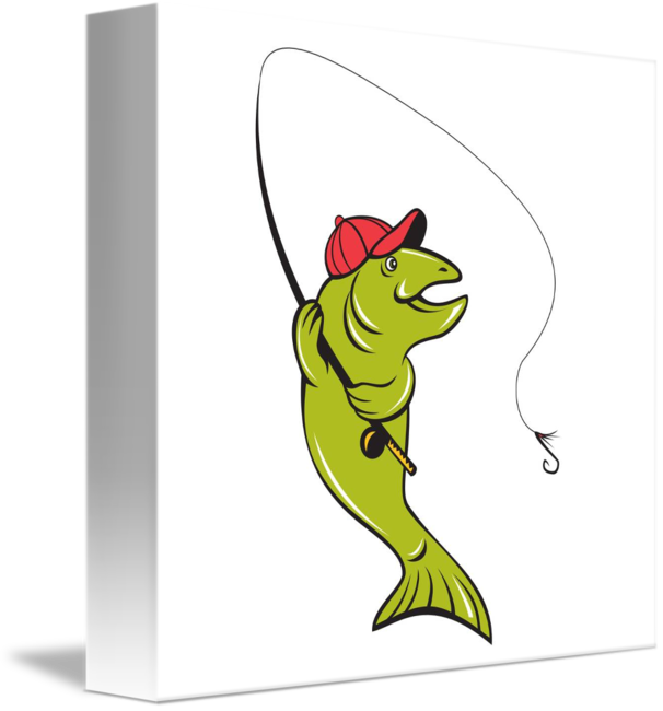 Fly fish hook clipart picture black and white library Trout Fly Fishing Rod Hook Cartoon by Aloysius Patrimonio picture black and white library