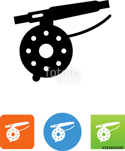 Fly fishing reel clipart jpg library Fly Fishing Reel Icon - Illustration\