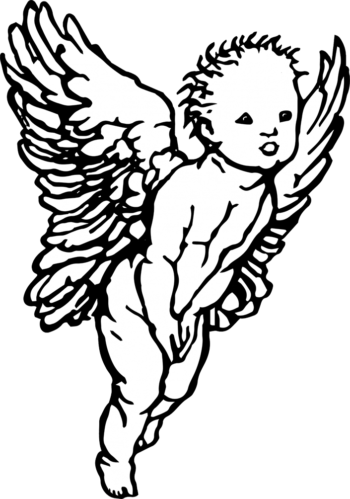 And angel drawing at. Flying angels with cross black white clipart